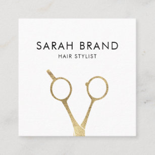 faux gold foil scissors hair stylist square business card - Stylist Business Cards