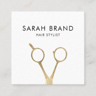 Faux Gold Foil Scissors Hair Stylist Square Business Card