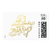 Faux Gold Foil Script Eat, Drink and Be Merry Postage