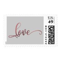 Faux Gold Foil Script Love on Gray, Wedding Postage