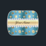 """Faux Gold Foil Spots on Metallic Blue Jelly Belly Candy Tin<br><div class=""""desc"""">Trendy, glamorous, modern, personalized shiny faux gold foil polka dots pattern on a faux wavy metallic blue background with faux diamonds and gold gradient strip for you to personalize. PLEASE NOTE: These are flat printed graphics - no real foil, jewels or raised parts. Click on the Customize / Personalize button...</div>"""