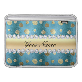 Faux Gold Foil Spots on Metallic Blue MacBook Air Sleeve