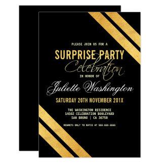 Faux Gold Foil Strip Black Surprise Birthday Party Card