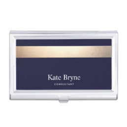 Faux Gold Foil Stripe Classic Navy Blue Name Case For Business Cards