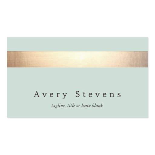 Faux Gold Foil Stripe Modern Stylish Turquoise Double-sided Standard Business Cards (pack Of 100)
