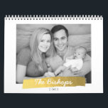 """Faux Gold Foil Stripe Photo Calendar<br><div class=""""desc"""">A modern faux foil stripe highlights your family&#39;s last name over a the cover family photo. Personalize this design with family photos for each month making it perfect for yourself or to give as a gift.</div>"""