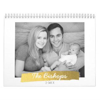 Faux Gold Foil Stripe Photo Calendar