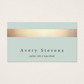 Faux Gold Foil Striped Elegant Light Blue Chic Business Card