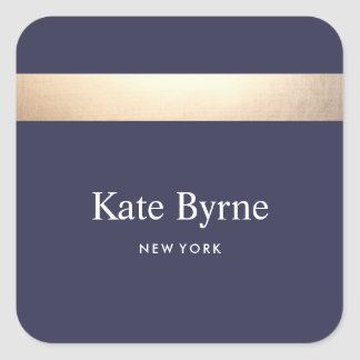 Faux Gold Foil Striped Modern Navy Blue Chic Square Sticker