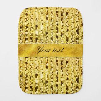 Faux Gold Foil Stripes and Confetti Baby Burp Cloth