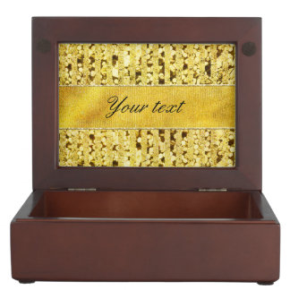 Faux Gold Foil Stripes and Confetti Keepsake Box