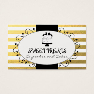 Faux Gold Foil Stripes Cupcake Cake Bakery Business Card
