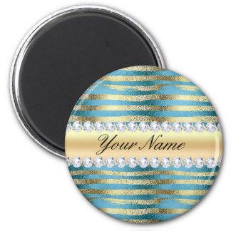 Faux Gold Foil Stripes on Wavy Blue Metallic Magnet
