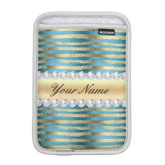 Faux Gold Foil Stripes on Wavy Blue Metallic Sleeve For iPad Mini