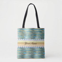 Faux Gold Foil Stripes on Wavy Blue Metallic Tote Bag