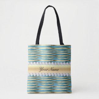 Faux Gold Foil Stripes on Wavy Blue Metallic Tote Bag