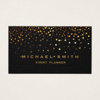 Faux Gold Foil Subtle Glitter Black Business Card
