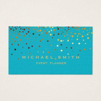 Faux Gold Foil Subtle Glitter Blue Business Card