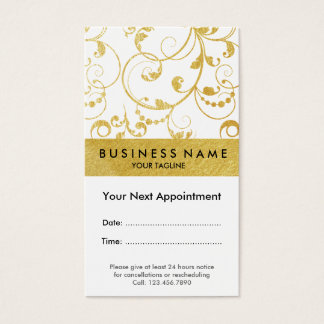 Faux Gold Foil Swirls Appointment Business Card