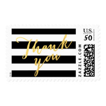 Faux Gold Foil Thank You Black Stripes Postage