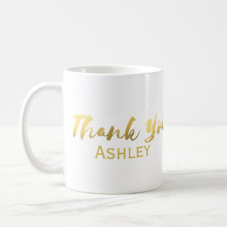 """Faux Gold Foil """"Thank You Bridesmaid"""" Personalized Coffee Mug"""
