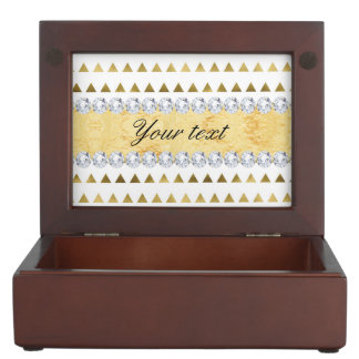 Faux Gold Foil Triangles Pattern and Diamonds Memory Box