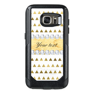 Faux Gold Foil Triangles Pattern and Diamonds OtterBox Samsung Galaxy S7 Case