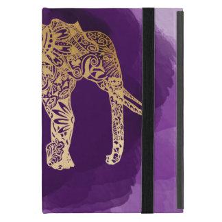 faux gold foil tribal elephant purple brushstroke cover for iPad mini