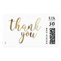 Faux Gold Foil Typography Thank You, 6a-1 Postage