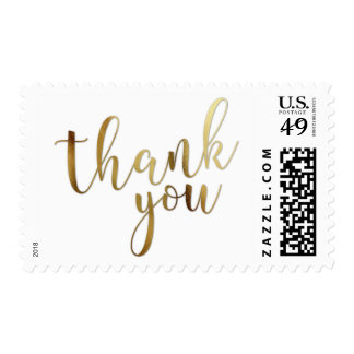 Faux Gold Foil Typography Thank You Rotated Postage