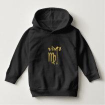 Faux Gold Foil Virgo Zodiac Symbol Hoodie