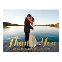 FAUX GOLD FOIL WEDDING PHOTO THANK YOU POSTCARD