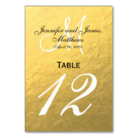 Faux Gold Foil Wedding Table Number Card
