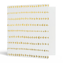 Faux Gold Foil White Arrows Pattern 3 Ring Binder