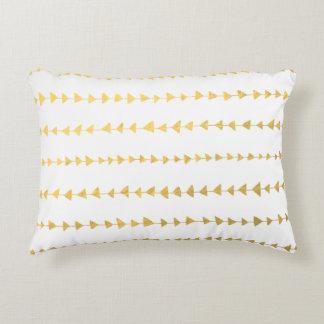 Faux Gold Foil White Arrows Pattern Accent Pillow
