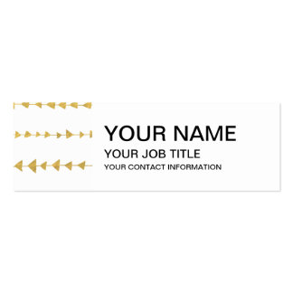 Faux Gold Foil White Arrows Pattern Double-Sided Mini Business Cards (Pack Of 20)