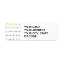 Faux Gold Foil White Arrows Pattern Label