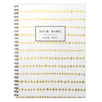 Faux Gold Foil White Arrows Pattern Notebook