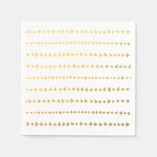 Faux Gold Foil White Arrows Pattern Paper Napkin