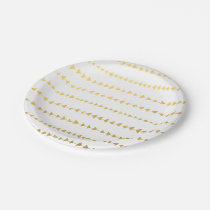 Faux Gold Foil White Arrows Pattern Paper Plate