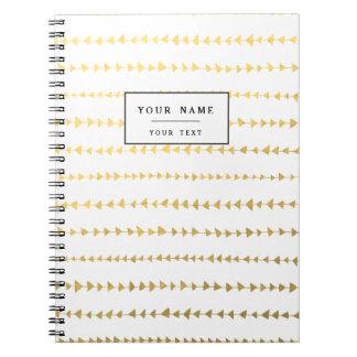Faux Gold Foil White Arrows Pattern Spiral Notebook