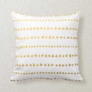 Faux Gold Foil White Arrows Pattern Throw Pillow