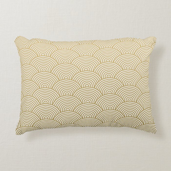 Faux Gold Foil White Circle Fan Pattern Decorative Pillow Zazzle
