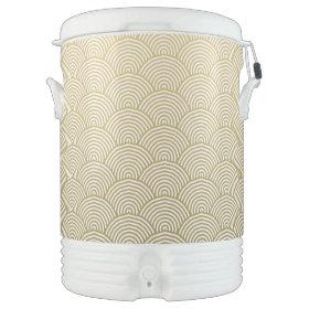 Faux Gold Foil White Circle Fan Pattern Igloo Beverage Cooler