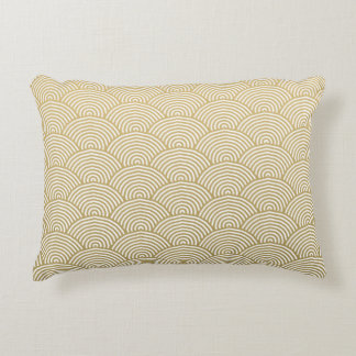Faux Gold Foil White Circle Fan Pattern Accent Pillow