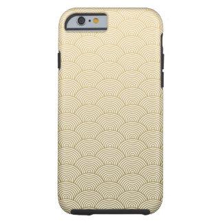 Faux Gold Foil White Circle Fan Pattern Tough iPhone 6 Case