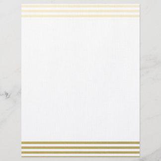 Faux Gold Foil White Stripes Pattern