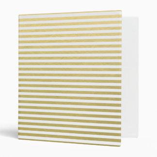 Faux Gold Foil White Stripes Pattern 3 Ring Binder