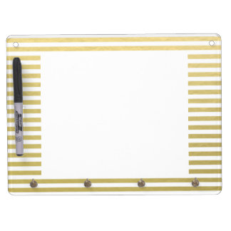 Faux Gold Foil White Stripes Pattern Dry Erase Board With Keychain Holder