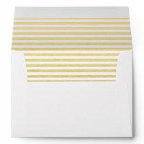 Faux Gold Foil White Stripes Pattern Envelope